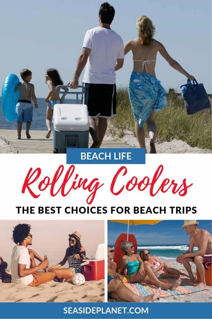 We know how difficult it can be to find the right rolling cooler for your day at the beach, which is why we\'ve found five great options to keep your food and drinks cold all day long! #BeachVacation #BeachVacationEssentials