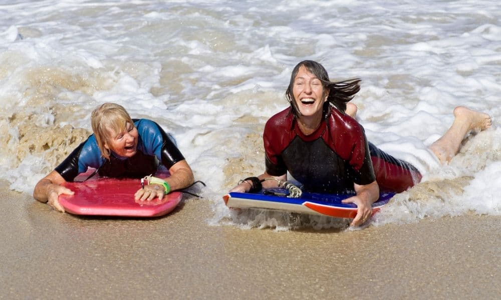older women bodyboarding