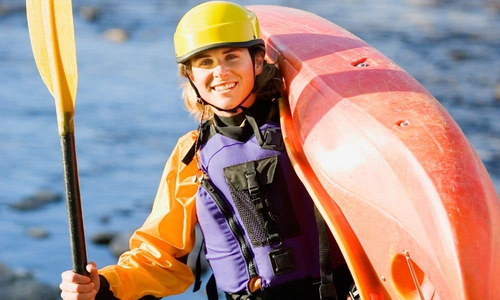 woman in kayaking gear