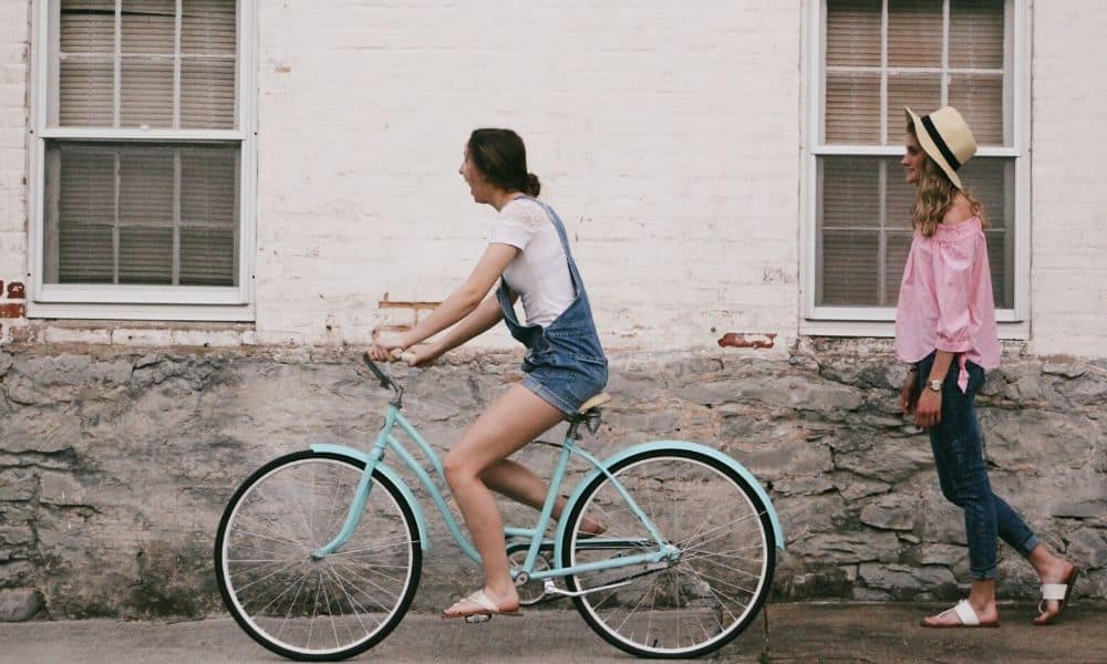 woman riding a cruiser bike