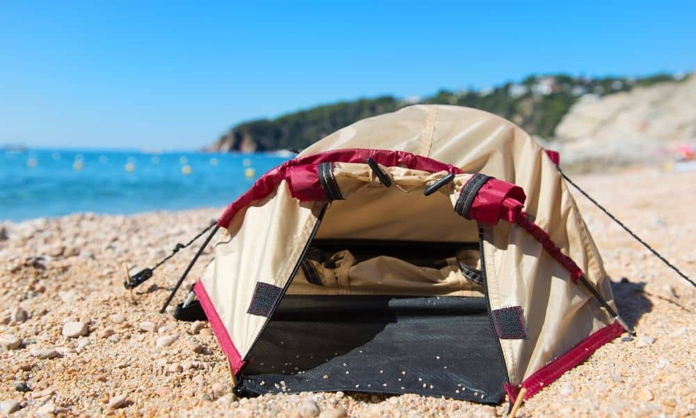 dome tent at the beach