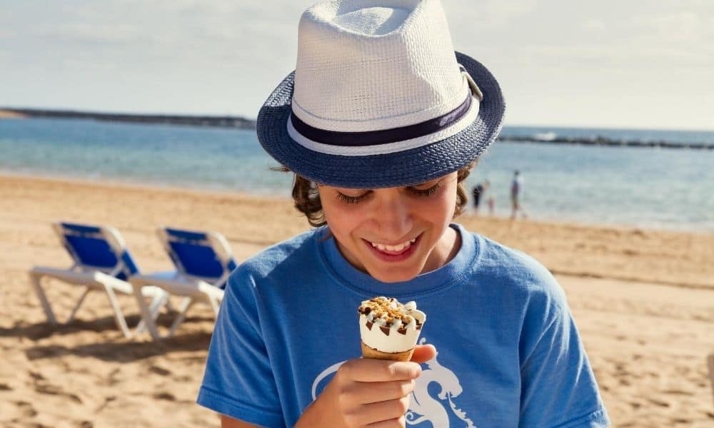 eating ice cream at the beach